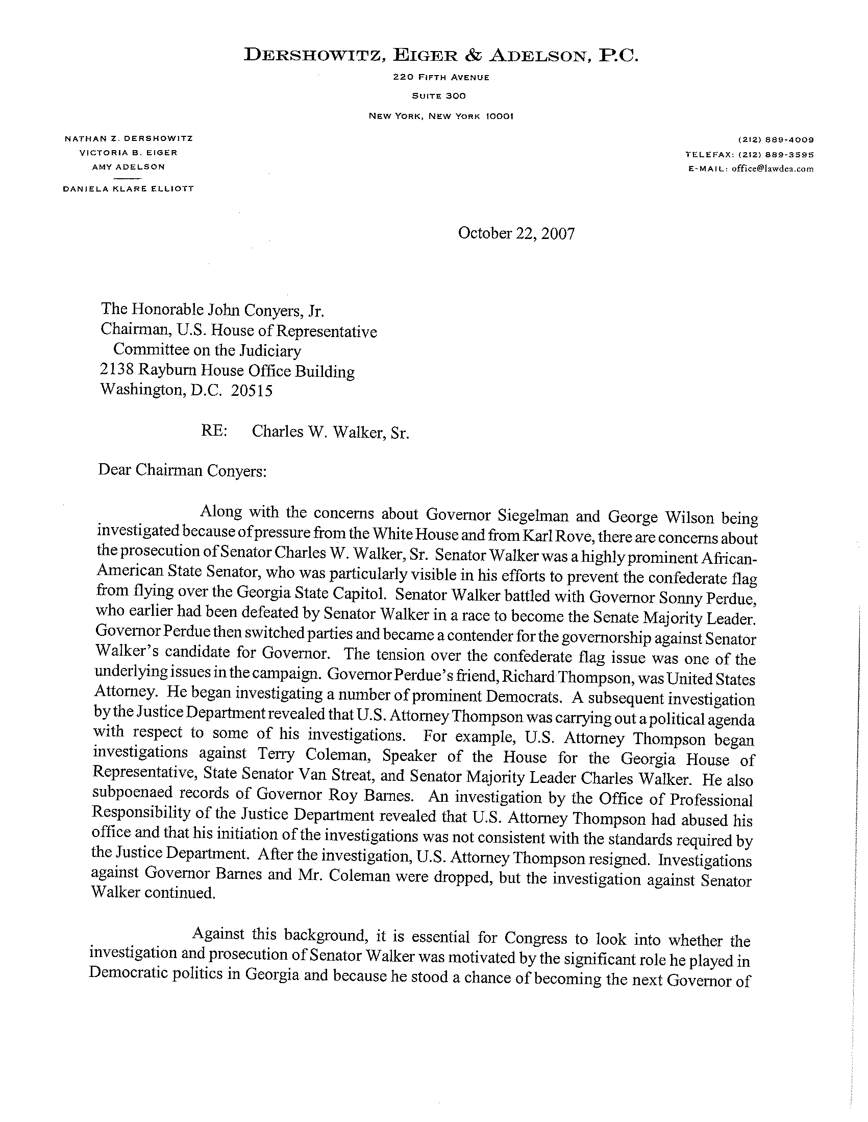 Letter from Nathan Dershowitz on Sen. Walker
