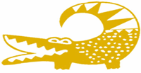 "West African Andrinkra symbol Denkyem called ""Denykem"" (crocodile)"